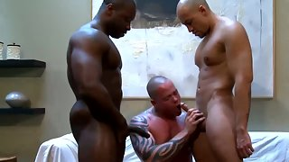 Gay blowjob for ebony jock and his white lover