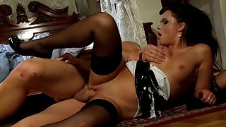 Lass in Stockings copulates with a man leaving them both sticky and exhausted