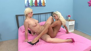 Naked Blonde Lesbians Lick and Scissor Sex on Bed Reached Climax