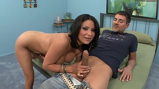 Mature Brunette Gets that Shaved Muff eaten out in Many different Ways