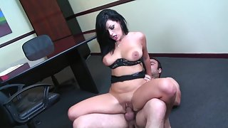 Brunette Secretary Got Her Shaved Cunt Nailed with a Finger in that Tight Butt