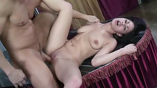 Small Tit Brunette Babe Got Face Fucked by a Long Prick