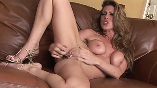 Brunette Shaved Twat Babe Masturbation with Dildo on Couch