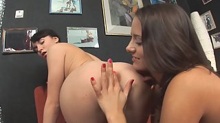 Brunette Lesbian Ladies Licked Their Pink Pussies on Red Couch